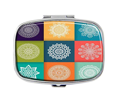 QHaihu Mandala, Islam, Arabisch, Indisch, Ottomanen-Motive, personalisierbar, rechteckig, Silber Pillendose Tasche, Medikamenten-Halter für Geldbörse