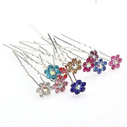 Forever Yung 10pcs/lot Mixed Color Crystal Bridal Party Wedding Decorative Hair Pins for Girls Long Hair Buns Hair Pins by Forever Yung (Pins Party Bridal)