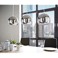 E-L Lampe de Plafond Mobilier Contemporain Contemporain Pendentif en Métal Abat-Jour Argenté Lustre Élégant * E27 Max 40W Chrome [Classe Énergétique
