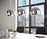 C-LT Lampe de Plafond Mobilier Contemporain Contemporain Pendentif en Métal Abat-Jour Argenté Lustre Élégant * E27 Max 40W Chrome [Classe Énergétique...