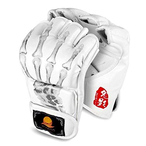 GranVela - Guanti da boxe MMA, guanti da boxe a mezze dita, con cinturino regolabile, per kickboxing, Muay Thai, adatti a mani di tutte le misure, G-White