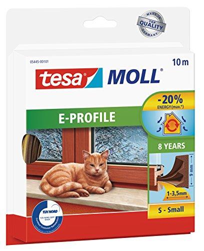 tesamoll Gummidichtung für Fenster und Türen, braun, CLASSIC, E-Profil, 10m -