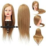 Übungskopf, Luckyfine 26'' Golden Friseurkopf 35% Echthaar+Hochtemperaturdraht Langen Haaren Mannequin Ausbildung Kopf mit Halterung