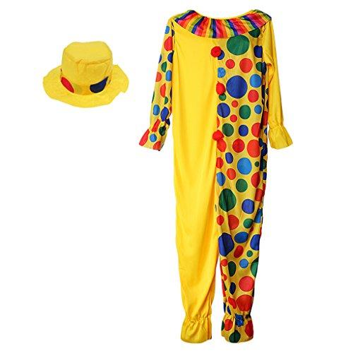 Sharplace Zirkus Clown Kostüm Comedy Dots Kinder Outfit mit Hut Party Fancy Dress - M