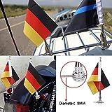 Motorrad Flagge Pole Mount und 6x 9Flagge Deutschland für Honda Goldwing CB VTX CBR Yamaha Harley Davidson