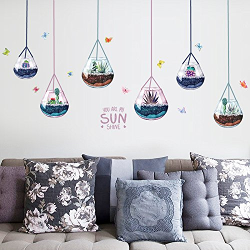 Wandaufkleber ZOZOSO Glas Sukkulenten Kronleuchter Moderne Wohnzimmer Sofa Tür Kabinett Glas Dekorative Wandaufkleber -