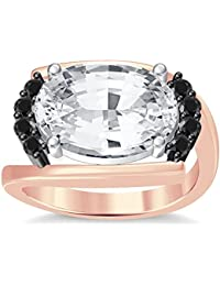 Silvernshine 4Ct Oval & Round Cut Sim Black Diamonds 18K Rose Gold Plated Engagement Ring