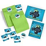 12 Einladungskarten Geburtstag Kinder Junge Monstertruck incl. 12 Umschläge, 12 Tüten / grün, 12 Aufkleber / Monster-Truck / Auto / Einladungen zum Kindergeburtstag für Jungen