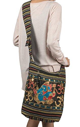 Tribe Azure Fair Trade Damen Hobo OM Schwarz Kreuz Body Schulter Tasche Elefant Bestickt Schule Alltag Shopping Leger Leicht -