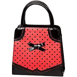 Bolso con manilla superior de Banned Hands Off My con lunares de estilo 50's - Negro & Rojo