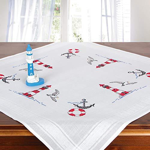 Stickpackung LEUCHTTÜRME, komplettes vorgezeichnetes Kreuzstich Tischdecken Set zum Sticken, Maritimes Stickset mit Stickvorlage