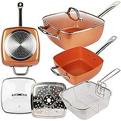 Maxell Power - padella quadrata, casseruola, in ceramica, rame, antiaderenti, con coperchio e accessori per friggere