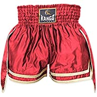 Kango - Pantalones Cortos de Muay Thai y Kickboxing, para artes marciales, entrenamiento y lucha, estilo UFC , KBS-062(Rot)