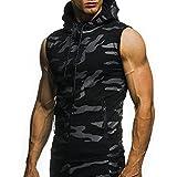 LeeY Herren Camouflage Hoodie Tankshirt T-Shirt Unterhemden Ärmellos Weste Fitness Tank Top Muske Shirt Für Sport Gym Fitness & Bodybuilding Muscle Shirt Stringer Unterhemd (Schwarz, M)