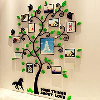 Fabric Home DIY 3D Wall Stickers Creative Family Life Tree Photo Frames Crystal Acrylic Decals Art Mural for Living Room Bedroom Sticker Home Decor, Green(Size L)