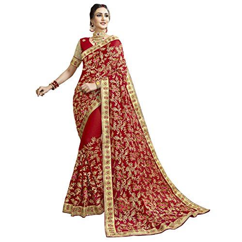 Triveni Faux Georgette Red Bridal Embroidered Traditional Saree
