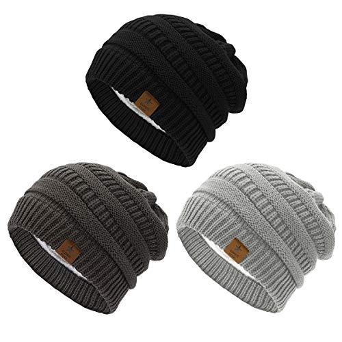 Azue Mütze Damen Winter Strickmütze Grobstrick Warme Beanie mit Innenfutter, 3er Set A, Einheitsgröße