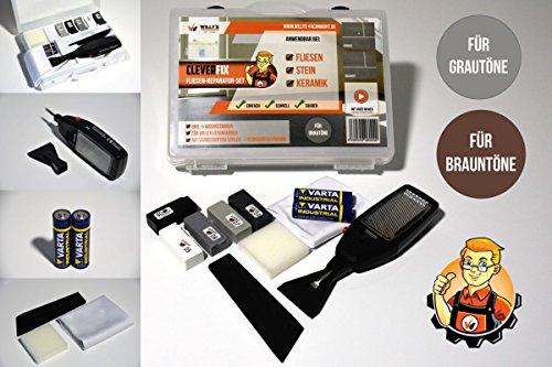 Fliesen Reparaturset CLEVERFIX Grautöne für Fliesen, Kacheln, Steingut, Keramik etc.