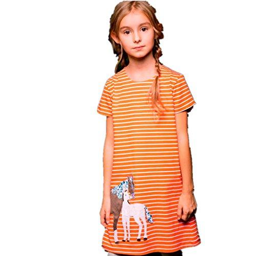 Amlaiworld Mädchen Sommer Tiere Flickwerk t-Shirt Kleider Locker Gestreift Druck Pferd Kleid Niedlich Baby Gemütlich Sport Wal Schmetterlinge Dress, 1-6 Jahren (4 Jahren, Orange)