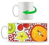 Frutta su sfondo bianco, tazza motivo di bianco 300 ml di ceramica, grande idea regalo per ogni occasione. La tua nuova tazza preferita per caffè, tè e bevande calde.