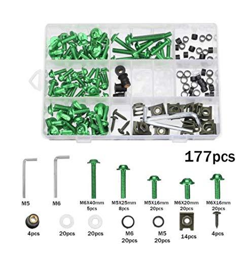 Alamor 177Pcs Kit De Boulon De Carénage Moto Écrous Vis Clips pour Honda/Yamaha / Kawasaki/Suzuki - Vert