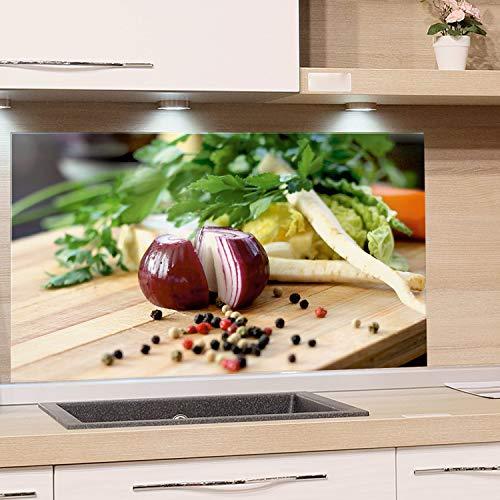 GRAZDesign Küchenrückwand Glas-Bild Spritzschutz Herd Edler Kunstdruck hinter Glas Bild-Motiv Zwiebel mit Kräuter Eyecatcher für Zuhause / 80x40cm