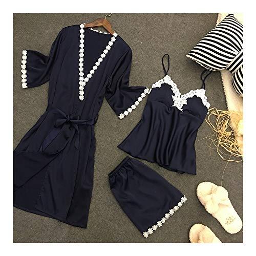 HAOLIEQUAN Frauen-Pijamas-Satin-Seidige Pyjama-Gesetzte Spitze-Robe 3Pcs Spitze + Shorts + RobenWäsche-Lange Hosen-Nachtwäsche-Weibliche Aufenthaltsraum-Abnutzung, B, XXL