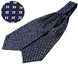 #3: SetSense Men's Floral Jacquard Woven Self Cravat Tie Ascot One Size Navy Blue / Yellow