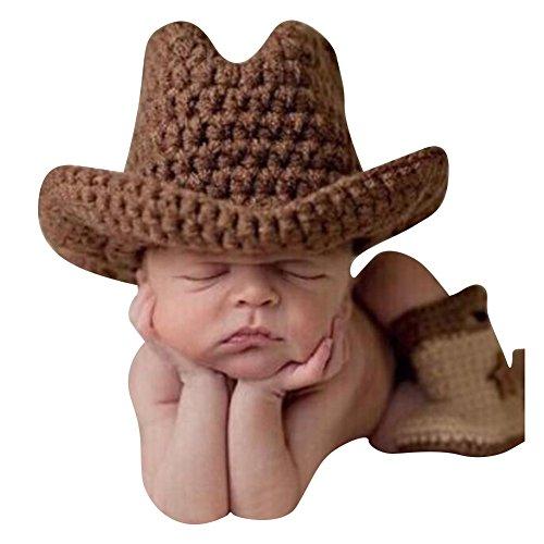 Highdas Fotografie Prop Baby-Kostüm Kostüm niedlich Stricken Handarbeit (Hut + Stiefel)