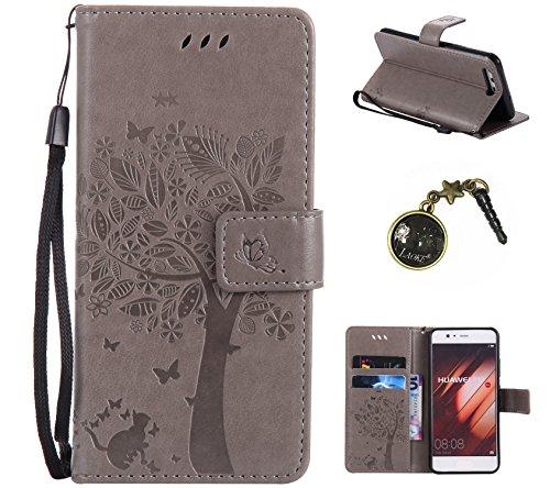 Preisvergleich Produktbild PU Ledertasche im Ständer Book Case / Kartenfach für Huawei P10 (12,95 cm (5,1 Zoll) Tasche Hülle Leder Etui,Vintage Hülle (+Staubstecker) (8)
