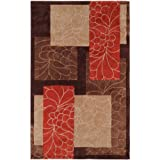 Surya Cosmopolitan COS-8889 Transitional Hand Tufted 100% Polyester Dark Chocolate 3'6 x 5'6 Floral Area Rug by Surya