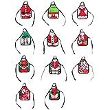 Posan Weihnachtsschürze - Bierschürze - glückliches Mini-Weihnachtsschürze für Bier, Weinflaschen, Tischdekoration, Feiertagsgeschenke(5 Stück, Zufällige)
