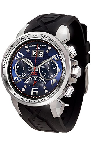Jorg Gray Men's Quartz Watch with Blue Dial Chronograph Display and Black Rubber Strap JG5600-23