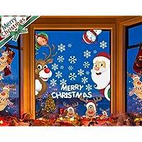 LYworld Fensterbilder für Weihnachten Fensterbilder Winter Statisch Haftende PVC Aufklebe Weihnachtsmann Süße Elche Wiederverwendbar Schneeflocken Fenster