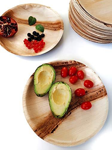 NATURZEUGS Bio-Einweggeschirr aus Palmblatt Ø 15cm, 25 robuste Teller, biologisch abbaubar und nachhaltig hergestellt, für Deine stylische Party!