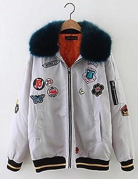 TT & ShangYi relleno de mujer, Abrigo Simple Casual liso algodón algodón manga larga, S