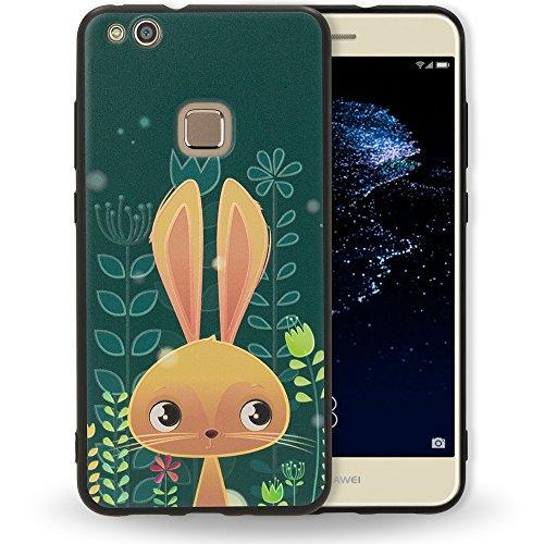 NALIA Handyhülle kompatibel mit Huawei P10 Lite, Slim TPU Silikon Motiv Case Cover Gummi Schutzhülle Dünn, Ultra-Slim Etui Handy-Tasche Backcover Phone Skin Bumper, Designs:Bunny -