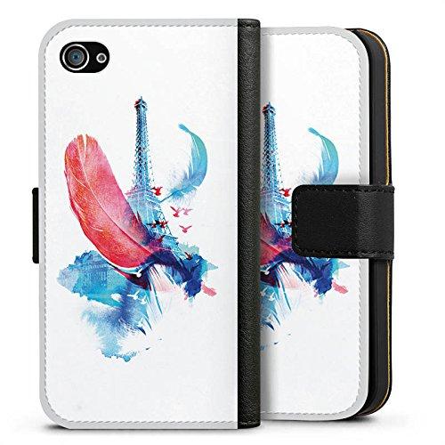 Apple iPhone X Silikon Hülle Case Schutzhülle Feder Art Eiffelturm Sideflip Tasche schwarz