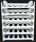 Weinregal stapelbar kunststoff für 36 Flaschen, stabiles leichtes Flaschenregal für Keller, Gastronomie und Lagerraum, modular erweiterbare Flaschen- und Weinlagerung, granit-grau
