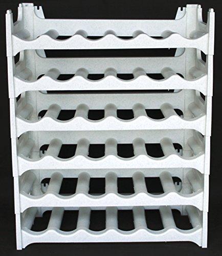 Spirituosen-wand Rack (Weinregal stapelbar kunststoff für 36 Flaschen, stabiles leichtes Flaschenregal für Keller, Gastronomie und Lagerraum, modular erweiterbare Flaschen- und Weinlagerung, granit-grau )