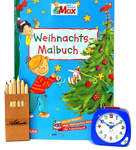 Kinderwecker ohne Ticken für Jungen Blau + Malbuch Weihnachten + Stifte -1936-5 BUBS …