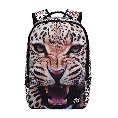 900D Multiple función Mochila Alta Calidad de lona 3D Animales Mochila para chicos y chicas mochila escolar - 48*31*15cm (Tigre)