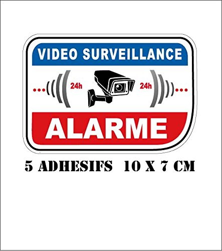 lot 5 stickers adhesif video surveillance CAMERA ALARME ref SV02