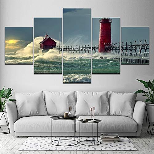 wand HD Drucke Wachtürme Dekoration 5 Stücke Meer Modularen Wohnzimmer Bilder Landschaft Kunstwerk Poster ()
