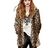 Pelzmantel Damen Kurz Winterjacken Leopard Streifen Design,AKAUFENG Felljacke Damen Faux Fur Jacke