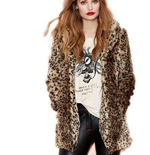 AKAUFENG Pelzmantel Damen Kurz Winterjacken Leopard Streifen Design, Felljacke Damen Faux Fur Jacke Leopard Mantel