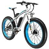 Extrbici E-Bike Mountainbike,XF660 500W 48V 10,4 Ah Akku,26 'X4.0 MTB Reifen,Elektrofahrrad 17 Zoll Aluminiumlegierung Rahmen 7 Geschwindigkeit Shimano Schaltwerk (White Blue)
