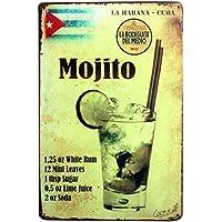 YiKang Retro Style Mojito - Placa de hierro para pared, hogar, oficina, bar, cafetería. (Style E)
