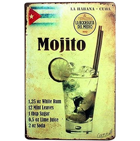 """Itemer """"Mojito"""" Plaque de Décoration en Métal Poster Vintage Signe Home Bar Décoration 20*30CM"""