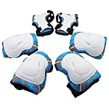 Kids Knee Pads, [2017 New Release] Protective Gear Knee Elbow Pads and Wrist Child's Pad Set for Inline Roller Skating Biking Sports Safe Guard (Blue)
